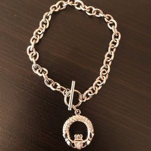Link claddagh bracelet with crystals.  New.